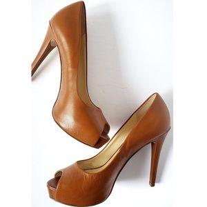 *New* Guess Honora Peep Toe Heels Color Cognac